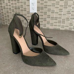 Aldo block heel in suede forest green